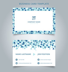 Creative business card and name card template blue color modern with Triangle pattern abstract concept and commercial design.