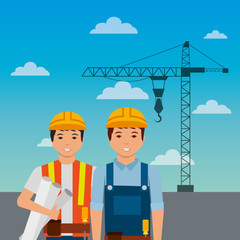 construction workers with helmet crane on sky background vector illustration