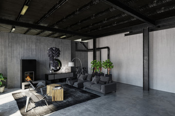 Trendy monochrome grey loft living room