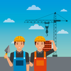 construction workers with spatula bricks crane on sky background vector illustration