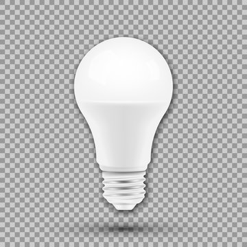 LED light bulb isolated on transparent background. Vector illustration.