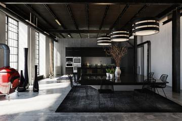 Hipster loft conversion with black decor