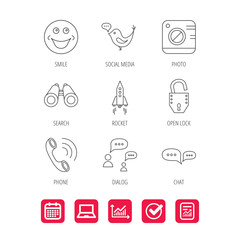 Phone call, chat speech bubble and photo icons.