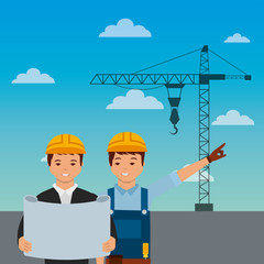 construction workers engineer foreman blueprint crane on sky background vector illustration