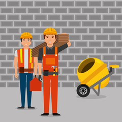 construction workers wooden board toolkit and mixer concrete wall brick gray vector illustration