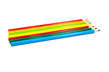 Colored pencils isolated on white background. Back to School. Stationery. Drawing