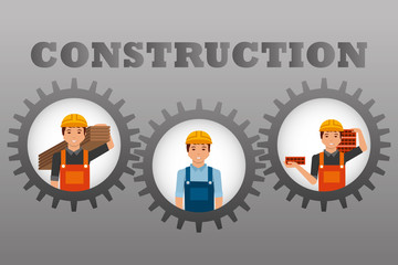 construction workers set inside gears gray background vector illustration