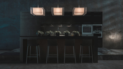Dark grey luxury fitted kitchen and bar counter