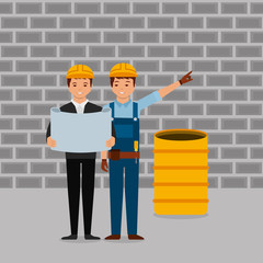 construction workers engineer foreman blueprint and barrel wall brick gray vector illustration