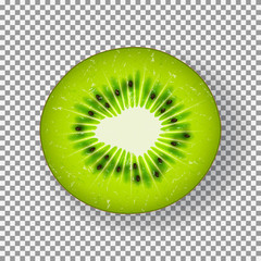 Realistic ripe kiwi slice. Vector illustration with seasonal summer sweet dessert. Top view on piece of juicy kiwi isolated on transparent background.