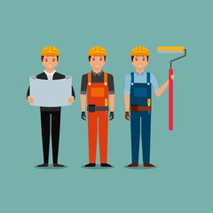 construction workers egineer foreman blueprint and roller paint vector illustration