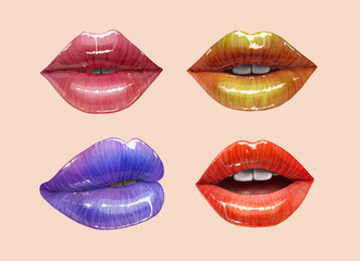 Colorful lips collection. Mouth set. Vector lipstick or lip gloss 3d realistic illustration.