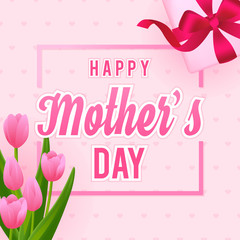 Wall Mural - Happy Mother's Day Card vector illustration, Beautiful Tulips with gift box.