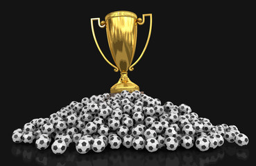 Trophy Cup and Soccer football. Image with clipping path