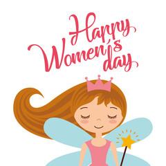 cute cartoon girl fairy card for womens day vector illustration