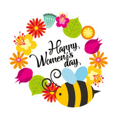 cute flowers and bee natural decoration happy womens day poster vector illustration
