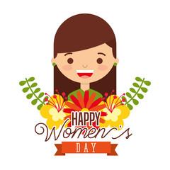 portrait smiling girl flowers arrangement happy womens day vector illustration