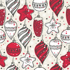 Christmas seamless pattern with christmas symbols