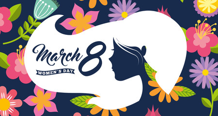 white silhouette woman head hair womens day 8 march floral background vector illustration