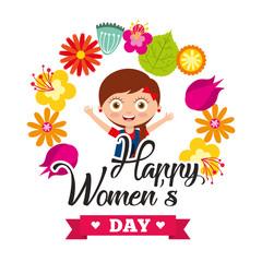 cute girl smiling celebration frame flowers womens day vector illustration