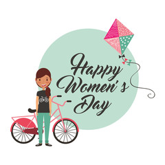 young girl with bike and kite happy womens day card vector illustration