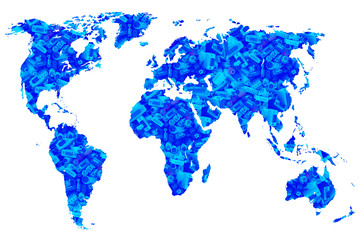 computer cords in blue world map, isolated