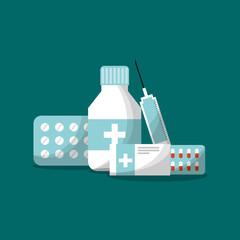 medicine packaging capsule syringe pills vector illustration