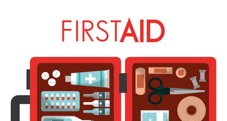 first aid box equipment medical health vector illustration