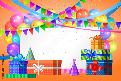 Happy Birthday Design Realistic Colorful Helium Balloons Gift Boxes Flags Garlands And White