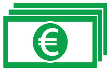 Euro currency icon or logo vector on a bank note or bill. Symbol for European Union banking or Europe Eurozone finances.