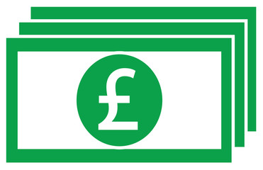 Pound or Pound Sterling currency icon or logo vector on a bank note or bill. Symbol for United Kingdom or Great Britain and England banking or British and English finances.