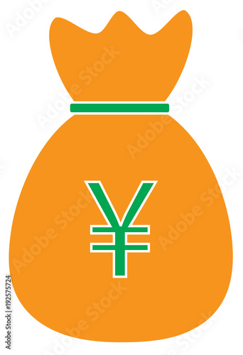 Yen Yuan Or Renminbi Currency Icon Or Logo Vector Over A Money Bag