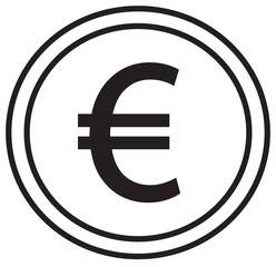 Euro currency icon or logo vector over a coin. Symbol for European Union bank, banking or Europe Eurozone finances.