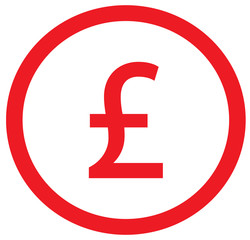 Pound or Pound Sterling currency icon or logo vector over a coin. Symbol for United Kingdom or Great Britain and England bank, banking or British and English finances.