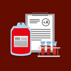 bag blood test tube on rack and clipboard vector illustration