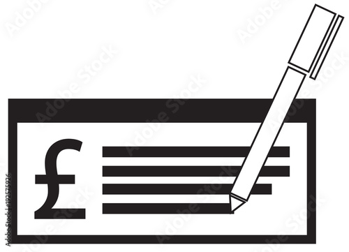 Pound Sterling Currency Icon Or Logo Vector On A Pay Check Or Cheque