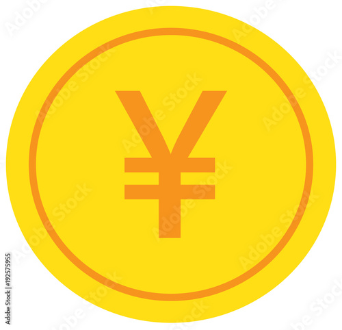 Yen Yuan Or Renminbi Currency Icon Or Logo Vector Over A Coin