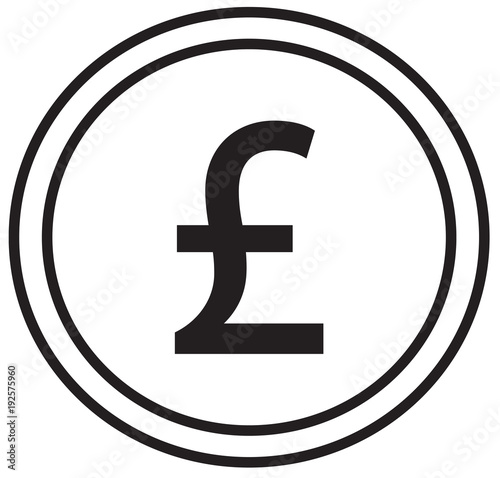Pound Or Pound Sterling Currency Icon Or Logo Vector Over A Coin