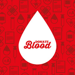 white silhouette drop blood donate medical icons background vector illustration