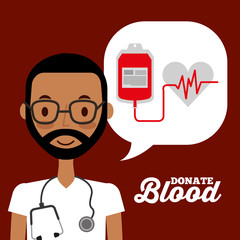 doctor speech bubble and bag blood heart rate donation campaign vector illustration