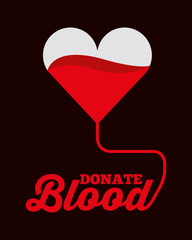 heart shaped bag donate blood symbol vector illustration