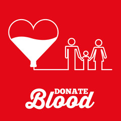 white heart family donate blood red background vector illustration