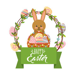 cute bunny with basket and frame eggs decoration happy easter vector illustration