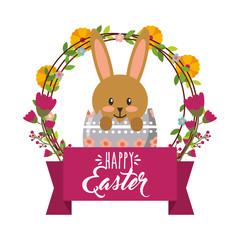 cute rabbit inside broken egg frame floral decoration happy easter vector illustration