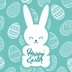 silhouette rabbit sitting happy easter egg background vector illustration