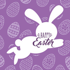 silhouette jumping rabbit happy easter egg background vector illustration