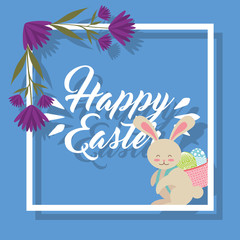 cute bunny carrying in back basket eggs happy easter floral decoration vector illustration