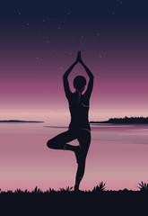 Yoga background. Silhouette of young woman practicing yoga at river front - vector illustration