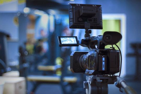 video camera on a tripod