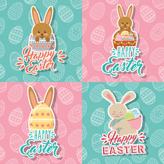 beautiful bunnies and eggs basket happy easter collection vector illustration